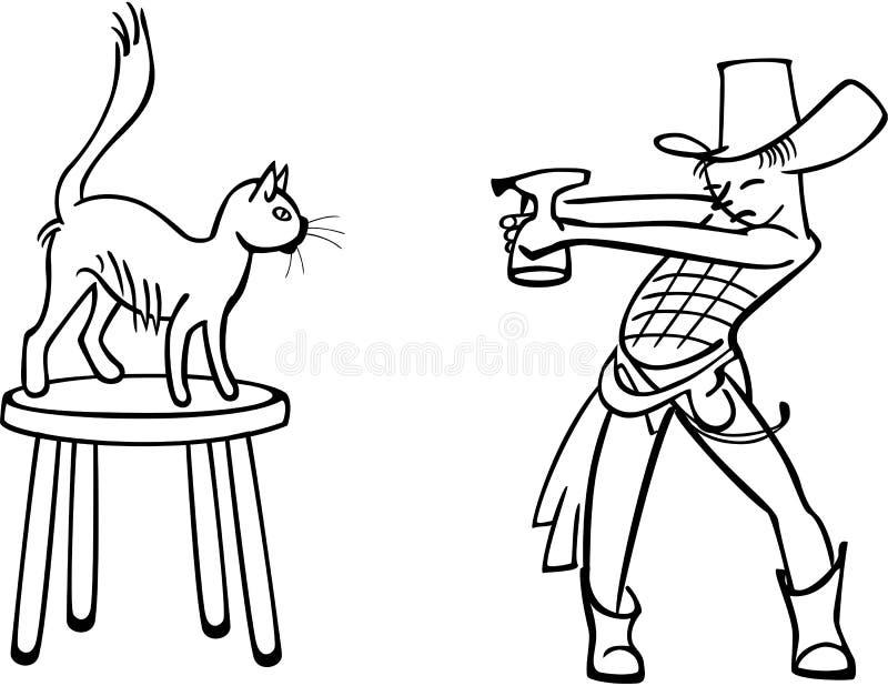 Chłopiec bawić się z kotem royalty ilustracja