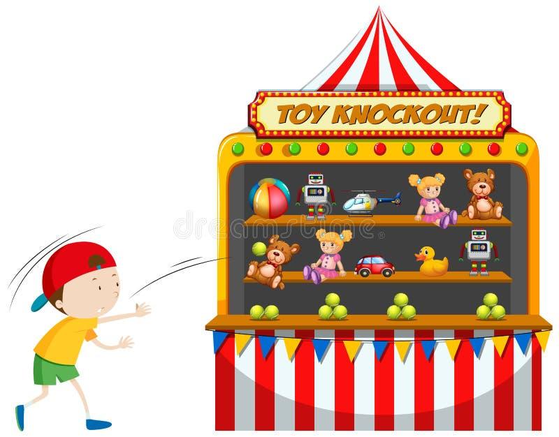 Chłopiec bawić się zabawkarskiego nokaut przy karnawałem royalty ilustracja