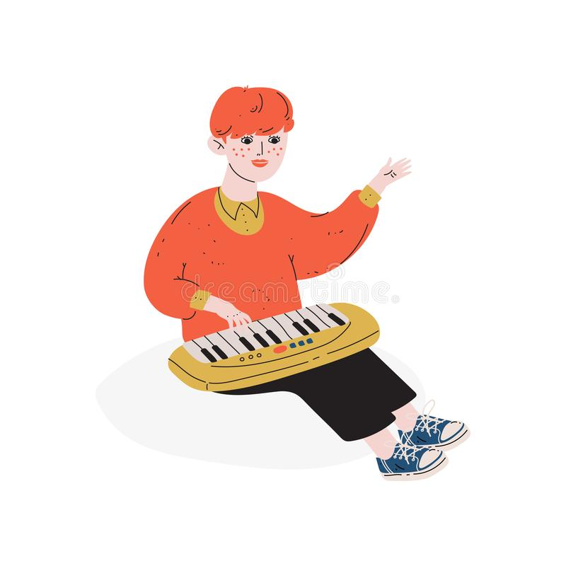 Chłopiec Bawić się Zabawkarskiego syntetyka, hobby, edukacja, Kreatywnie rozwój dziecka wektoru ilustracja ilustracji