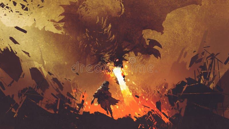 Chłopiec bieg zdala od pożarniczego smoka royalty ilustracja