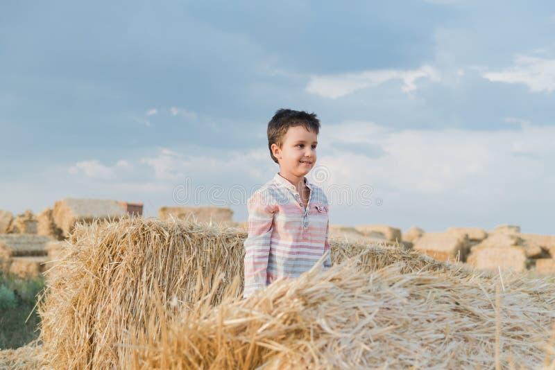 Chłopiec blisko siano beli w polu Dziecko na rolnej ziemi Pszeniczny żółty złoty żniwo w jesieni Wie? naturalny krajobraz obraz stock