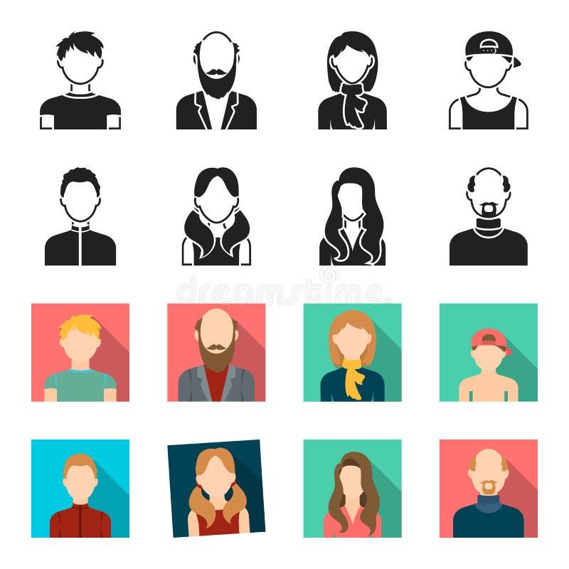 Chłopiec blondyny, łysy mężczyzna, dziewczyna z ogonami, kobieta Avatar ustalone inkasowe ikony w czerni, fleta symbolu stylowy w royalty ilustracja