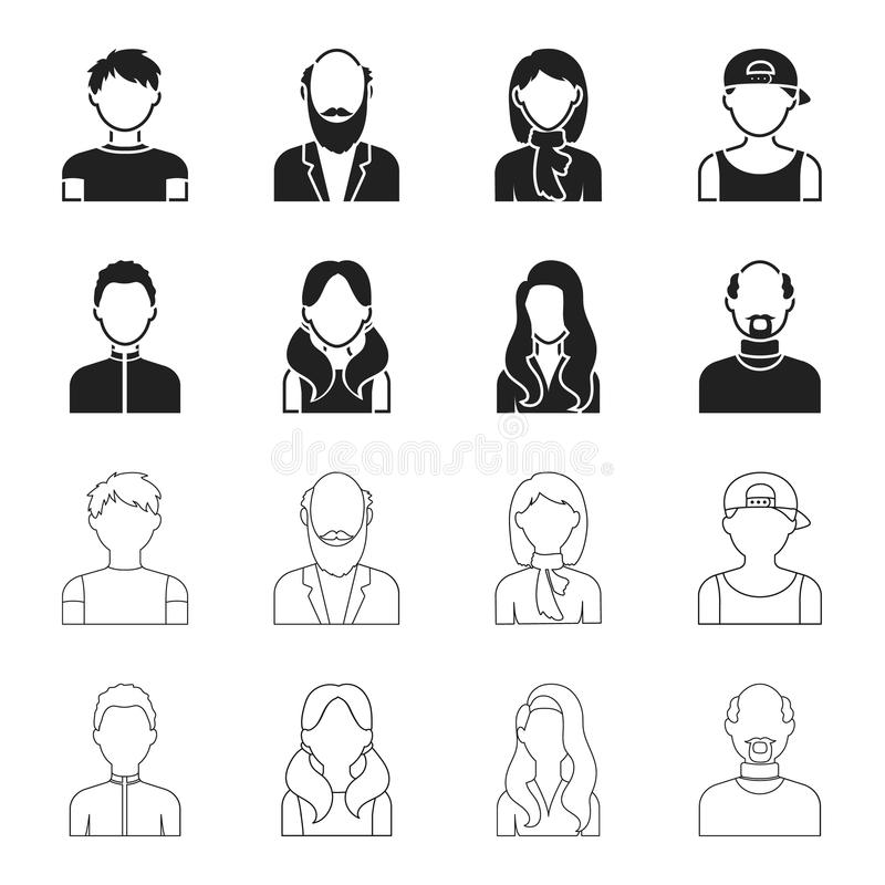 Chłopiec blondyny, łysy mężczyzna, dziewczyna z ogonami, kobieta Avatar ustalone inkasowe ikony w czerni, konturu symbolu stylowy ilustracja wektor