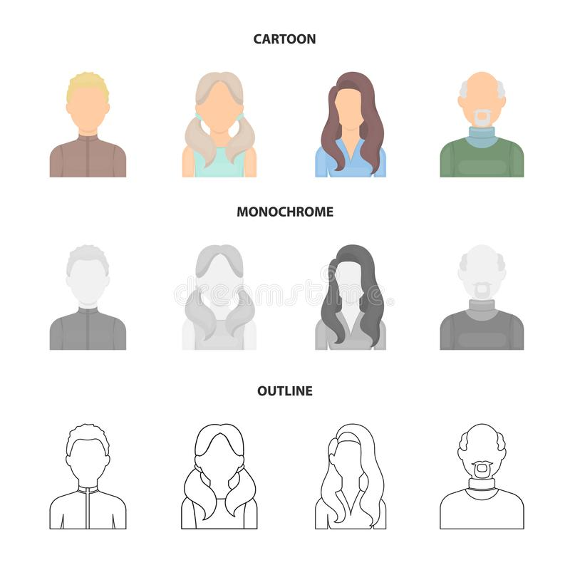 Chłopiec blondyny, łysy mężczyzna, dziewczyna z ogonami, kobieta Avatar ustalone inkasowe ikony w kreskówce, kontur, monochromu s ilustracji