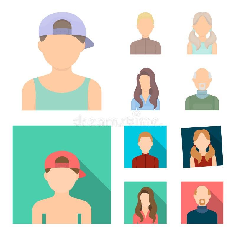 Chłopiec blondyny, łysy mężczyzna, dziewczyna z ogonami, kobieta Avatar ustalone inkasowe ikony w kreskówce, mieszkanie symbolu s ilustracja wektor