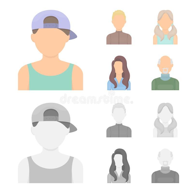 Chłopiec blondyny, łysy mężczyzna, dziewczyna z ogonami, kobieta Avatar ustalone inkasowe ikony w kreskówce, monochromu symbolu s royalty ilustracja