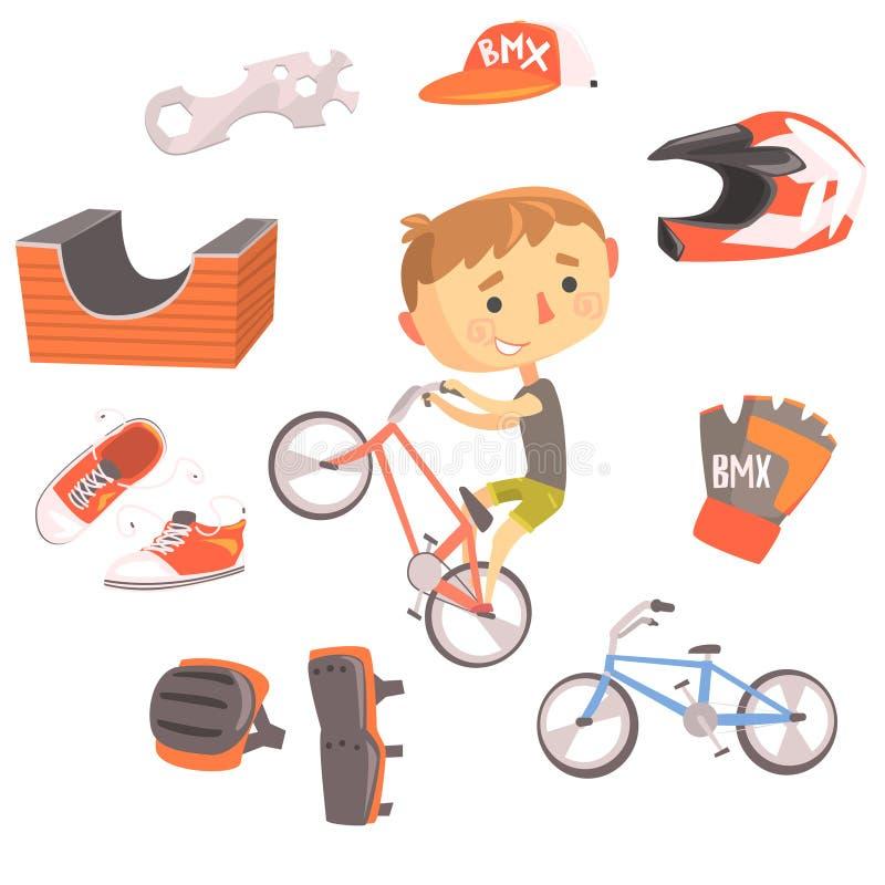 Chłopiec BMX roweru jeździec, dzieciak przyszłości sen zajęcia Fachowa ilustracja Z Powiązanym zawodów przedmioty ilustracja wektor