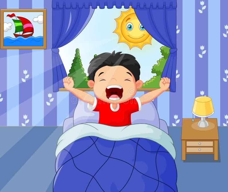 Chłopiec budził się up i poziewania royalty ilustracja