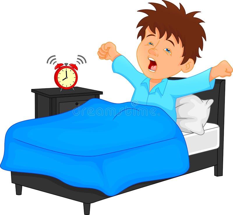 Chłopiec budził się w ranku ilustracja wektor