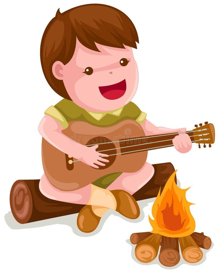 chłopiec campingowy gitary bawić się royalty ilustracja