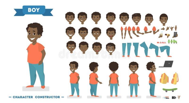 Chłopiec charakter - set dla animaci ilustracji