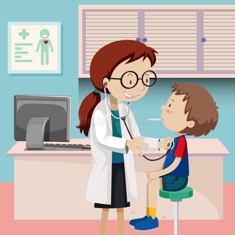 Chłopiec checkup przy szpitalem ilustracji