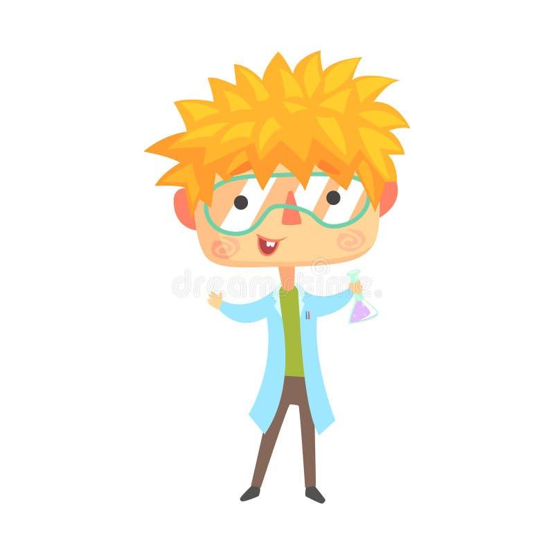 Chłopiec chemik, dzieciak przyszłości sen zajęcia Fachowa ilustracja ilustracja wektor