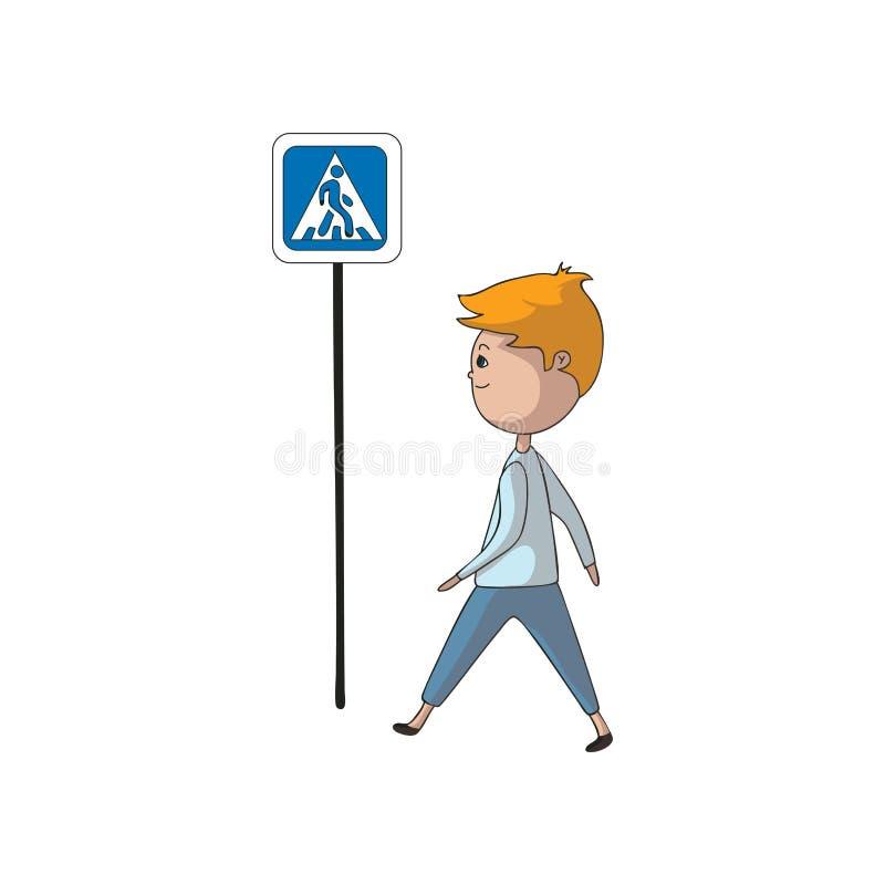 Chłopiec chodzi za znakiem crosswalk t?a ilustracyjny rekinu wektoru biel ilustracja wektor
