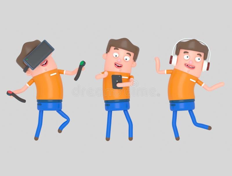 Chłopiec cieszy się z technologią 3D ilustracja, ilustracji