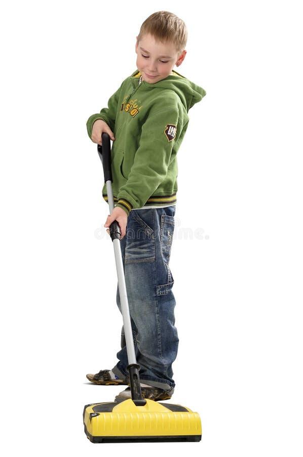 chłopiec cleaner próżnia zdjęcie royalty free