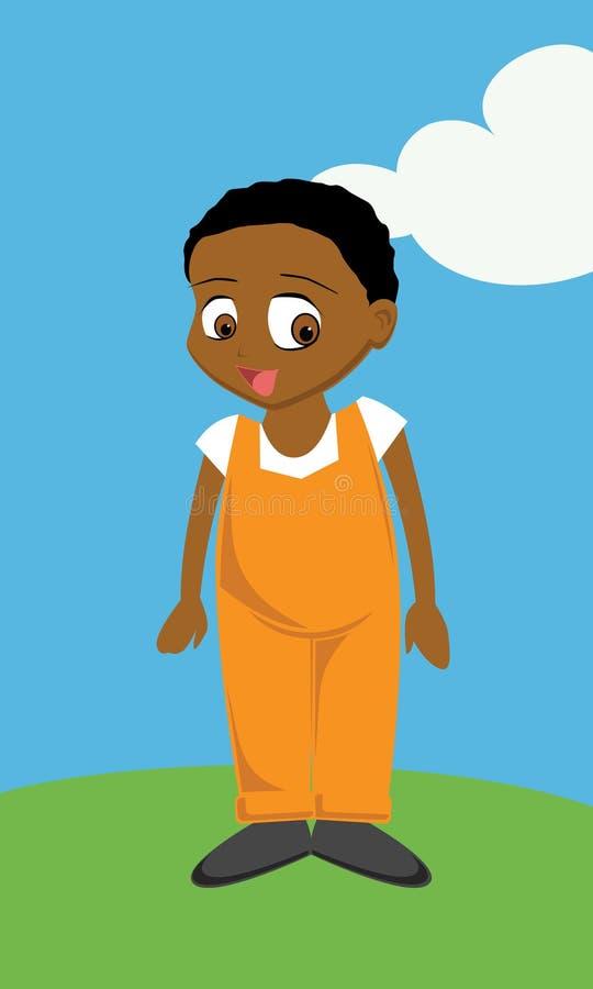 chłopiec czarny kombinezony royalty ilustracja