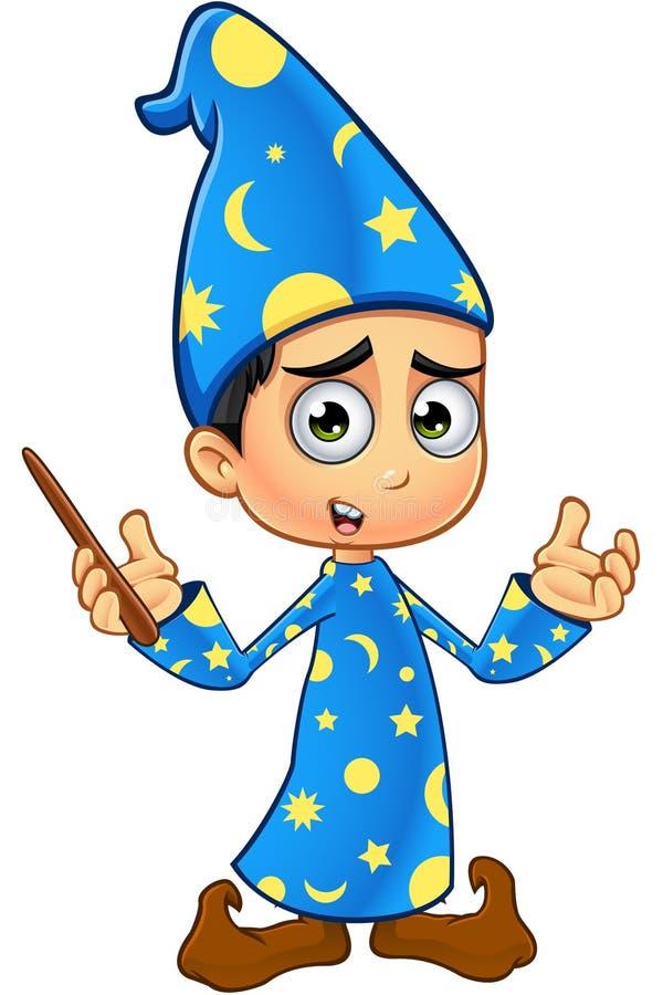 Chłopiec czarownik W błękicie - Zmieszanym ilustracji