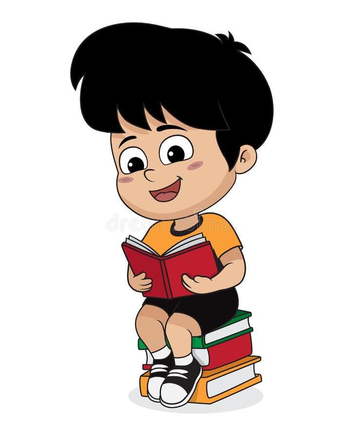 Chłopiec czyta książkę w bibliotece ilustracji