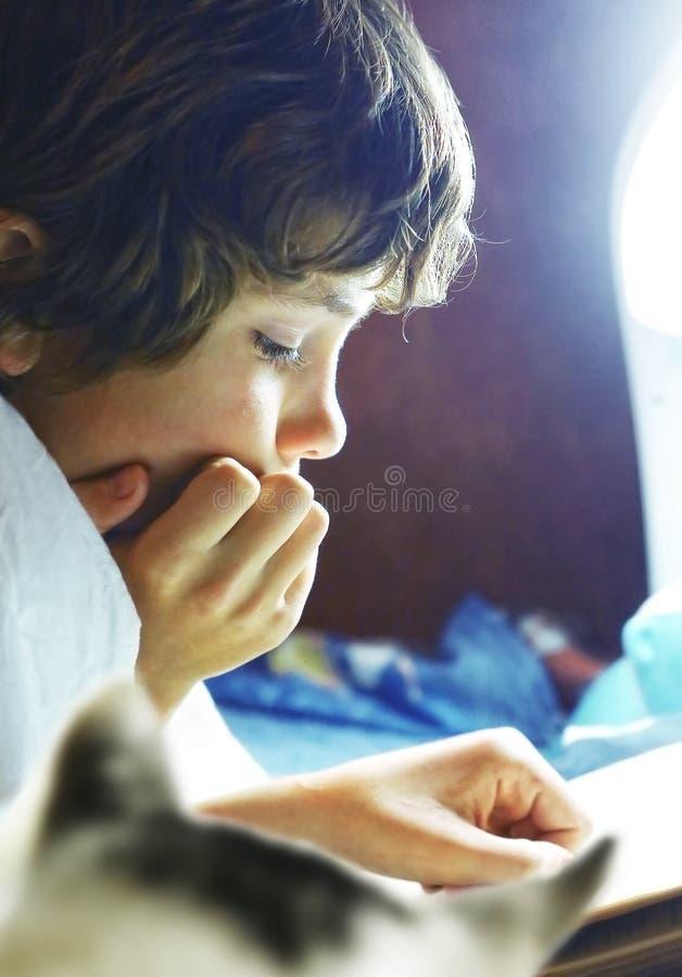 Chłopiec czytająca książka w łóżku z kotem zdjęcia stock