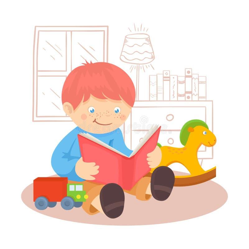 Chłopiec czytelnicza książka ilustracji