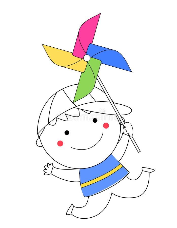 Chłopiec dmuchanie na pinwheel ilustracji