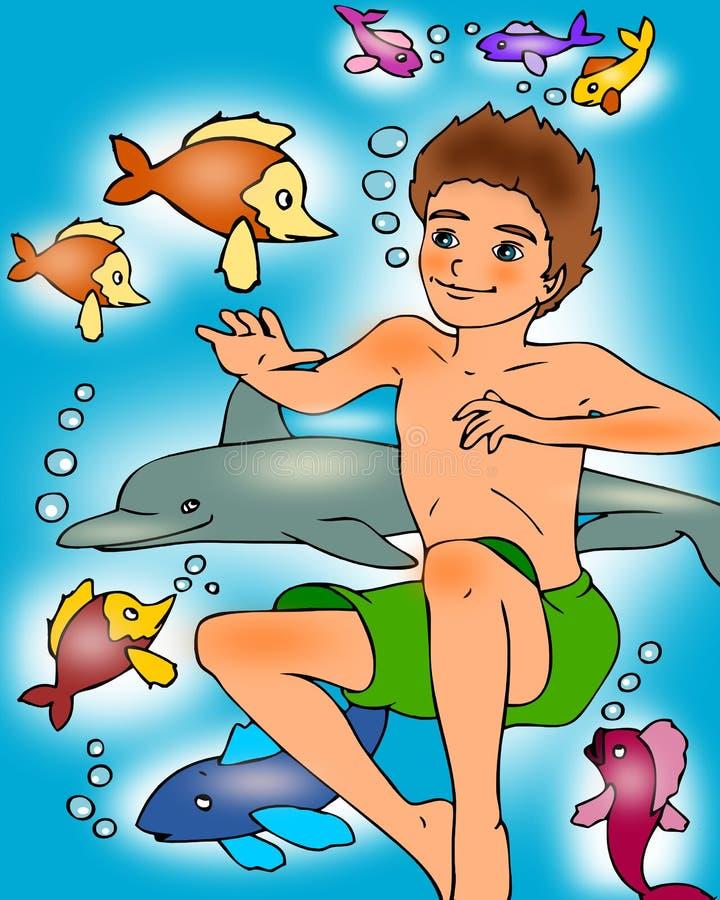 chłopiec dopłynięcie royalty ilustracja