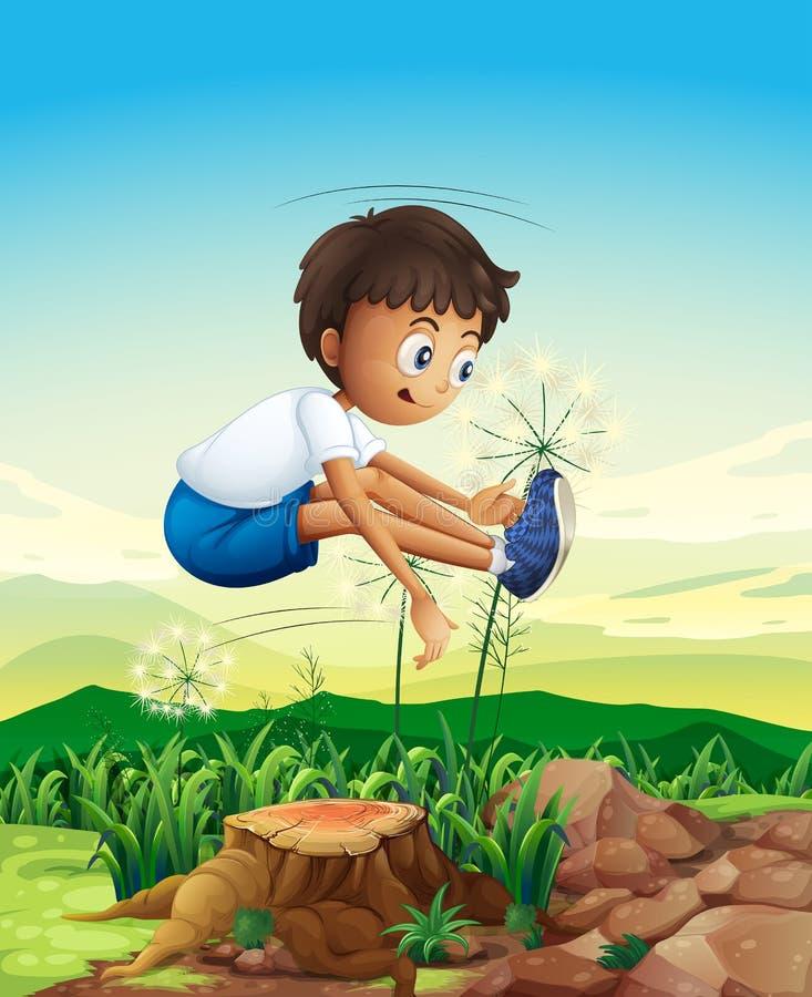 Chłopiec doskakiwanie nad fiszorek ilustracja wektor