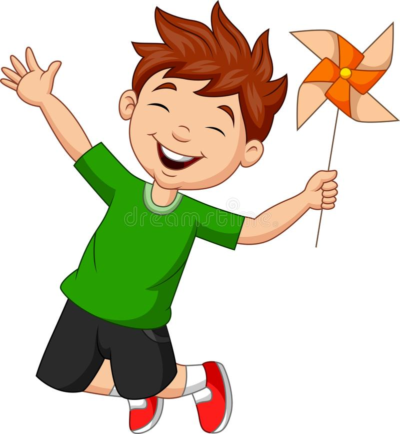 Chłopiec doskakiwanie z papierowym wiatraczkiem ilustracja wektor