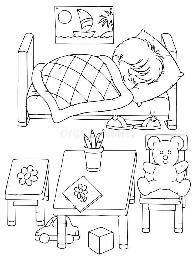 chłopiec dosypianie royalty ilustracja