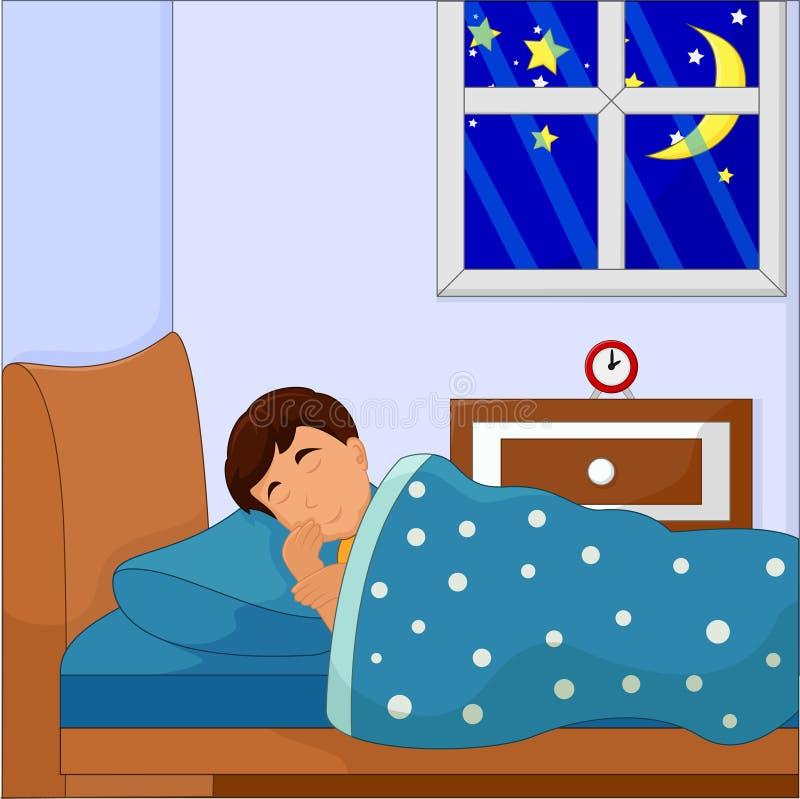 Chłopiec dosypianie Na Jego łóżku royalty ilustracja