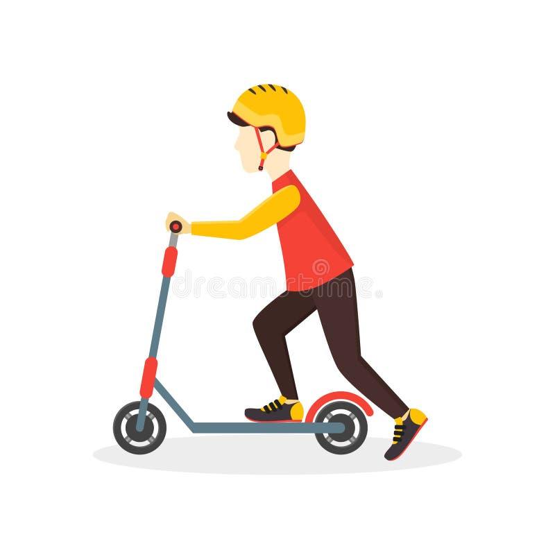 Chłopiec dzieciaka przejażdżki na hulajnoga wektor ilustracja wektor