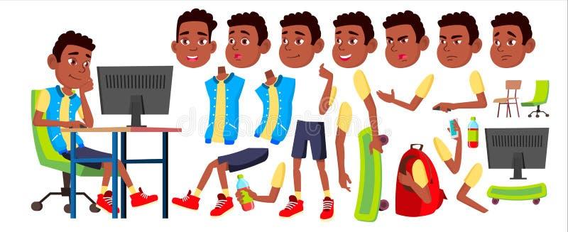 Chłopiec dzieciaka Uczniowski wektor czerń Afro amerykanin Szkoły Średniej dziecko Animaci tworzenia set Twarzy emocje, gesty ilustracji