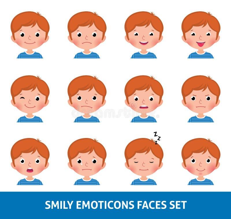 Chłopiec dziecka śliczny emoji, ustawia smily emoticons twarze ilustracja wektor