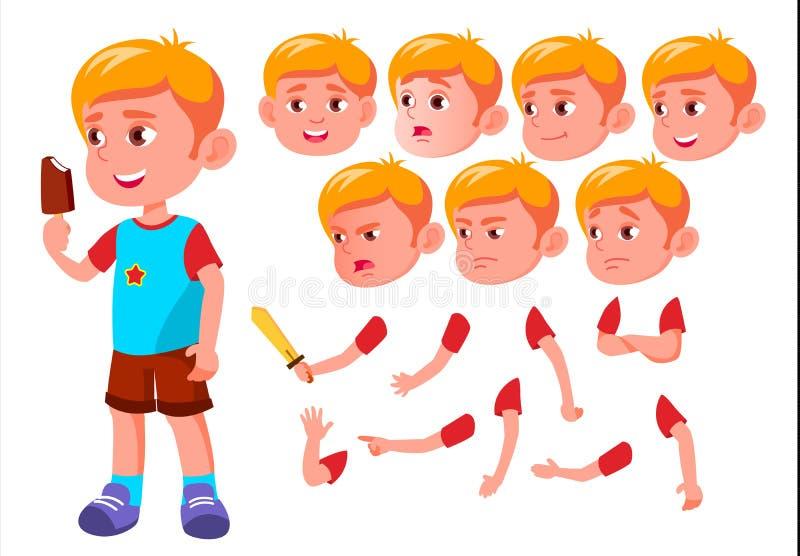 Chłopiec, dziecko, dzieciak, Nastoletni wektor leisure Edukacyjny, nauka Twarzy emocje, Różnorodni gesty Animaci tworzenia set royalty ilustracja