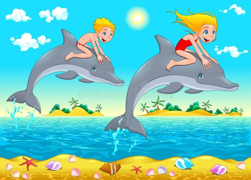 Chłopiec, dziewczyna i delfin w morzu. royalty ilustracja