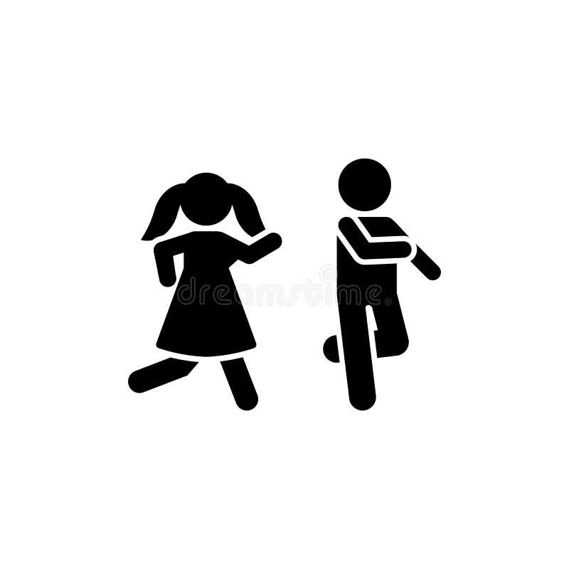 Chłopiec, dziewczyna, sztuka, bieg, gemowa ikona Element dziecko piktogram Premii ilo?ci graficznego projekta ikona znaki i symbo ilustracja wektor