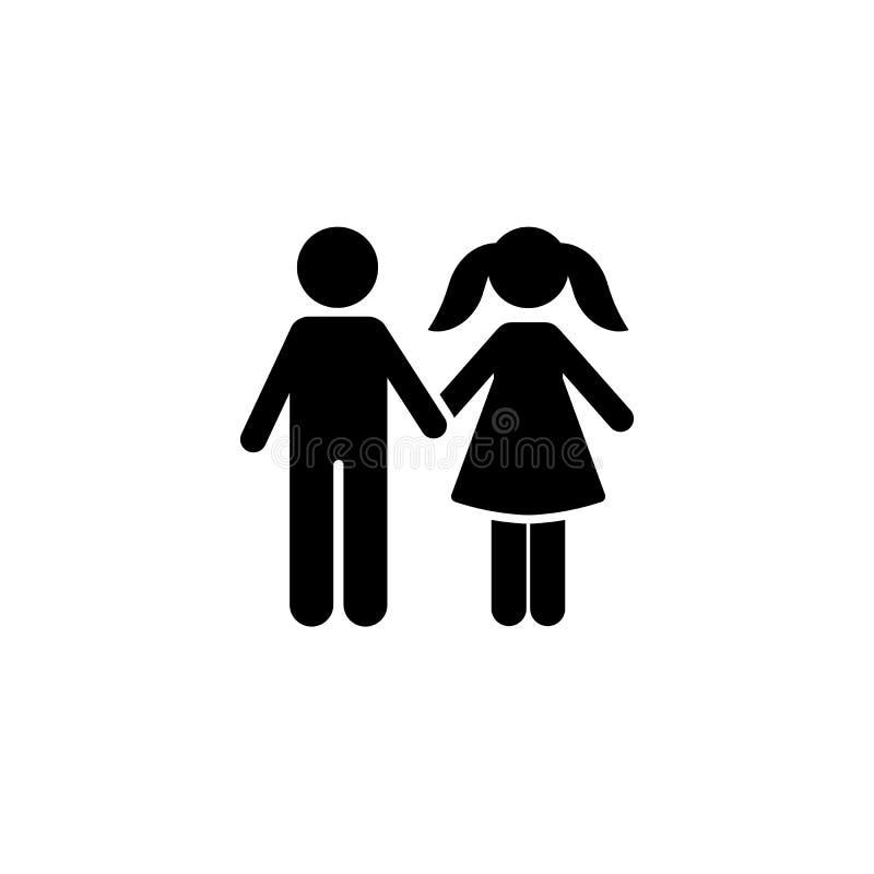 Chłopiec, dziewczyna, w miłości, szkoła, ikona Element dziecko piktogram Premii ilo?ci graficznego projekta ikona znaki i symbole ilustracja wektor