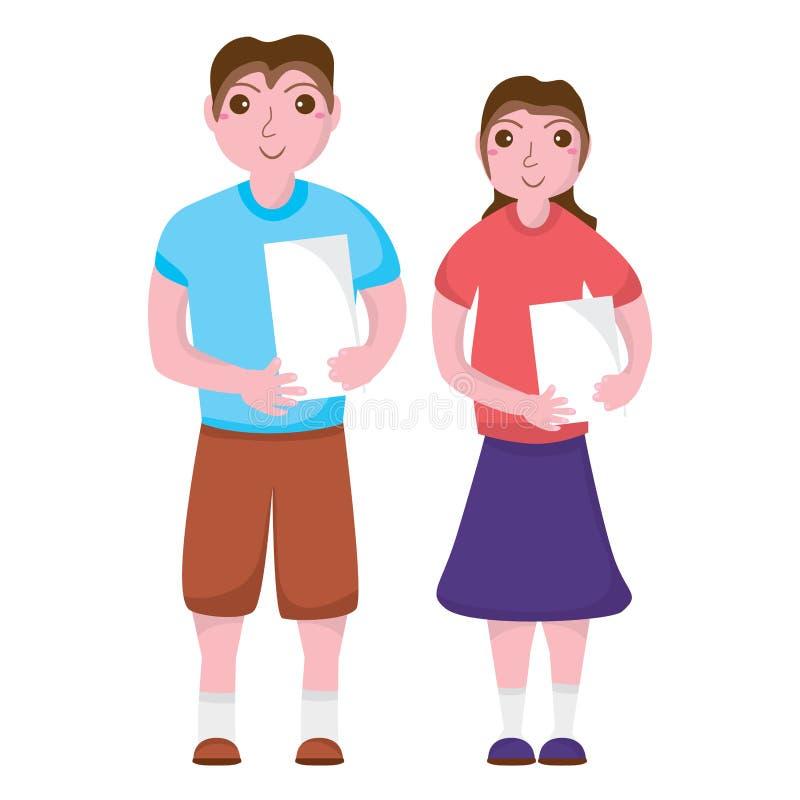 Chłopiec dziewczyny chwyta papier royalty ilustracja