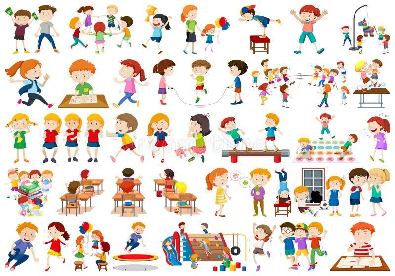 Chłopiec, dziewczyny, dzieci w edukacyjnej zabawy activty temacie royalty ilustracja