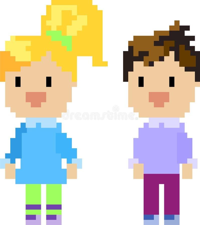 chłopiec dziewczyny piksel ilustracji