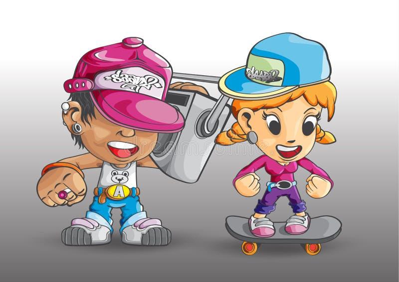 Chłopiec dziewczyny wiek dojrzewania hip hop deskorolka radio 80s ilustracja wektor