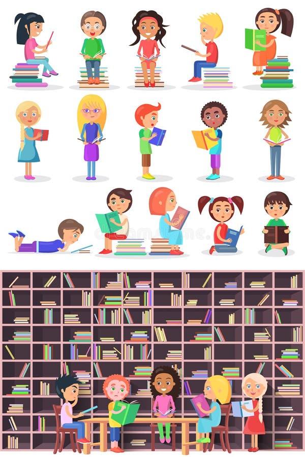 Chłopiec, dziewczyny z książkami Odosobneni dzieci, niemowlaki ilustracja wektor
