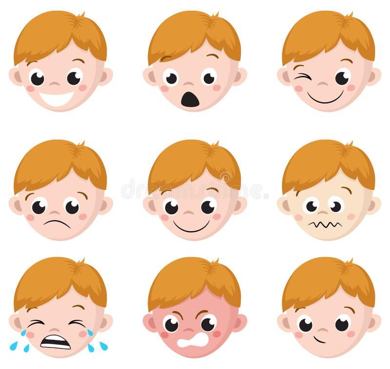 Chłopiec emocja Stawia czoło kreskówkę Odosobniony set męscy avatar wyrażenia ilustracja wektor
