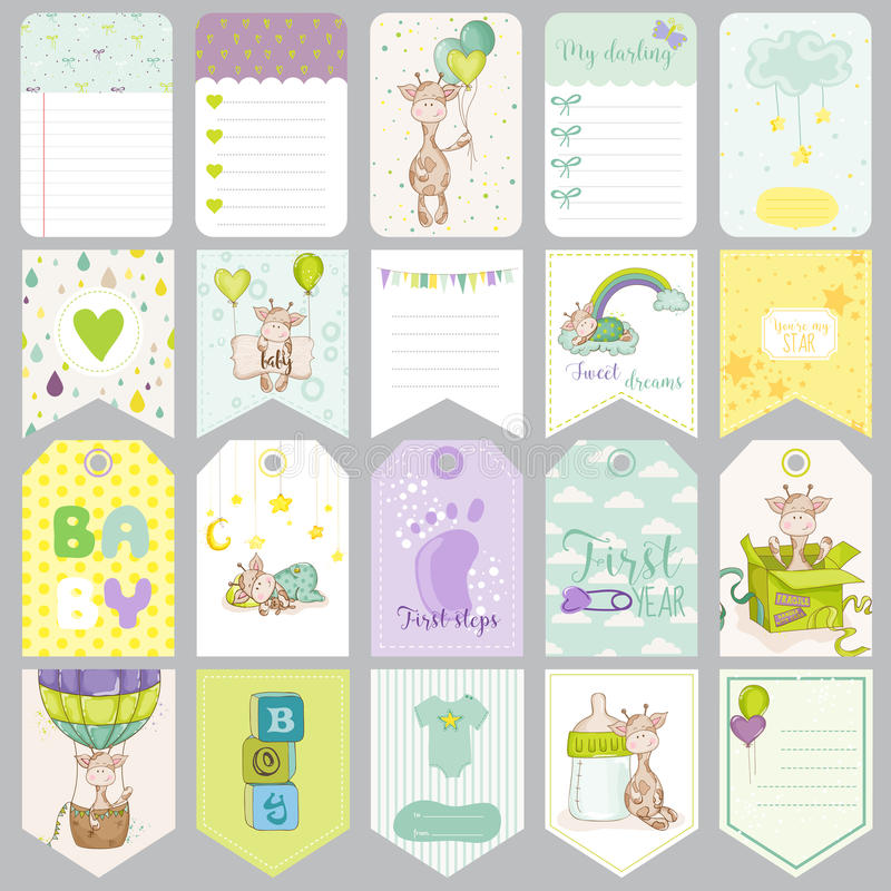 Chłopiec etykietki Dziecko sztandary Scrapbook etykietki Śliczne karty royalty ilustracja