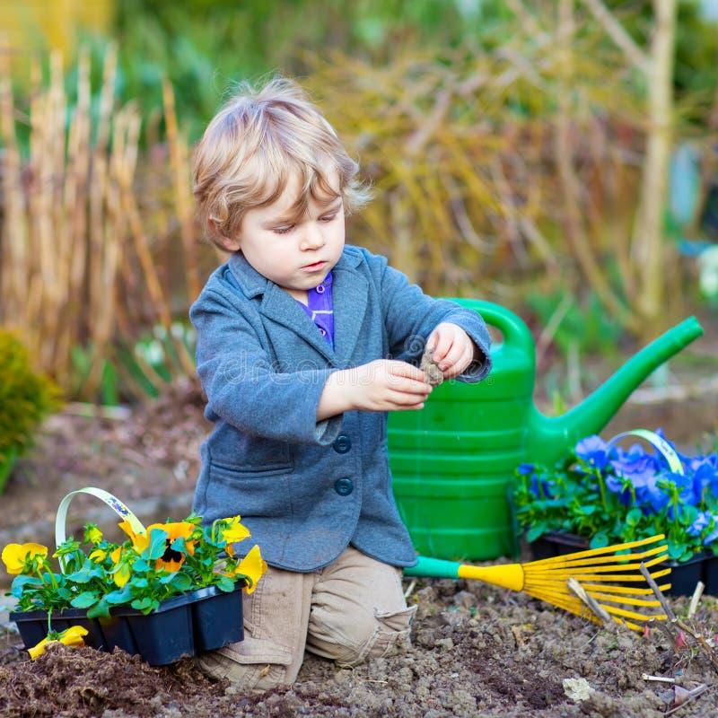 Chłopiec flancowanie i ogrodnictwo kwitniemy w ogródzie obrazy stock