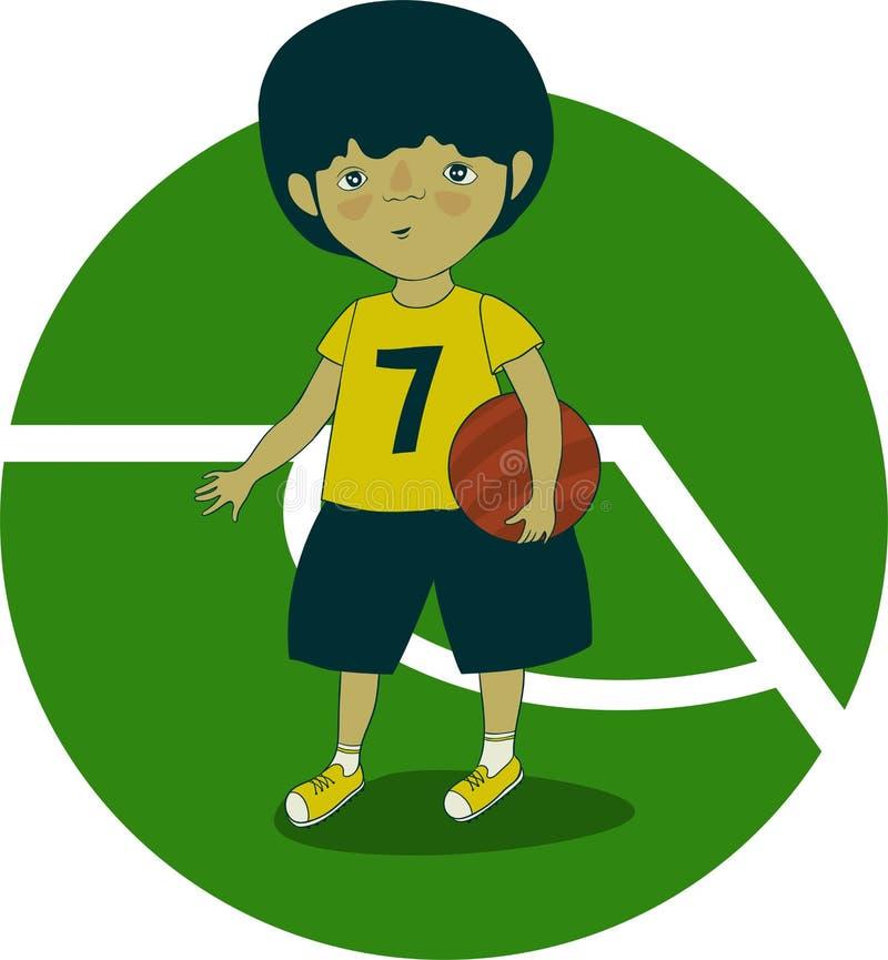 Chłopiec futbolista z piłką w jego ręce na boisku piłkarskim ilustracji