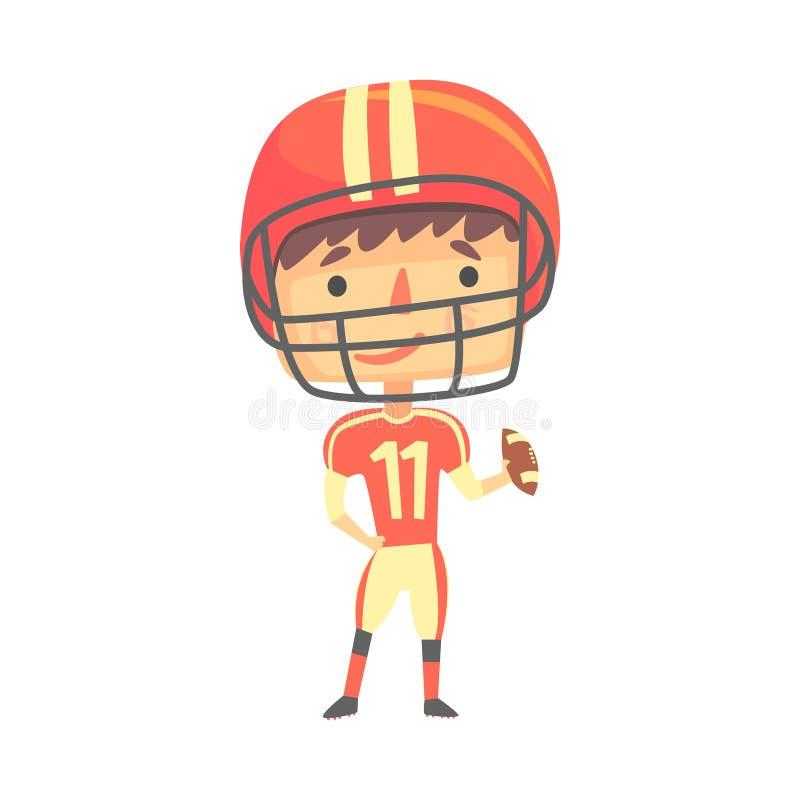 Chłopiec futbolu amerykańskiego gracz, dzieciak przyszłości sen zajęcia Fachowa ilustracja ilustracji