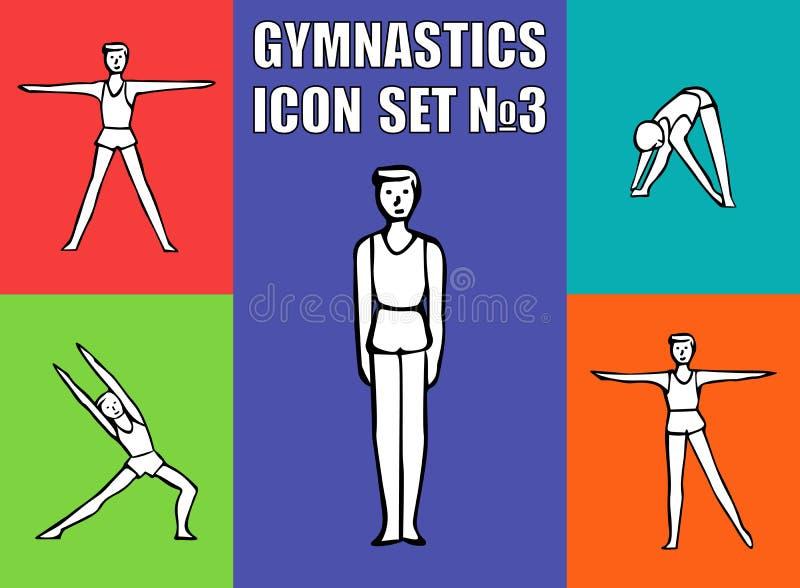 Chłopiec gimnastyczki atleta wykonuje rozmaitości ćwiczenia royalty ilustracja