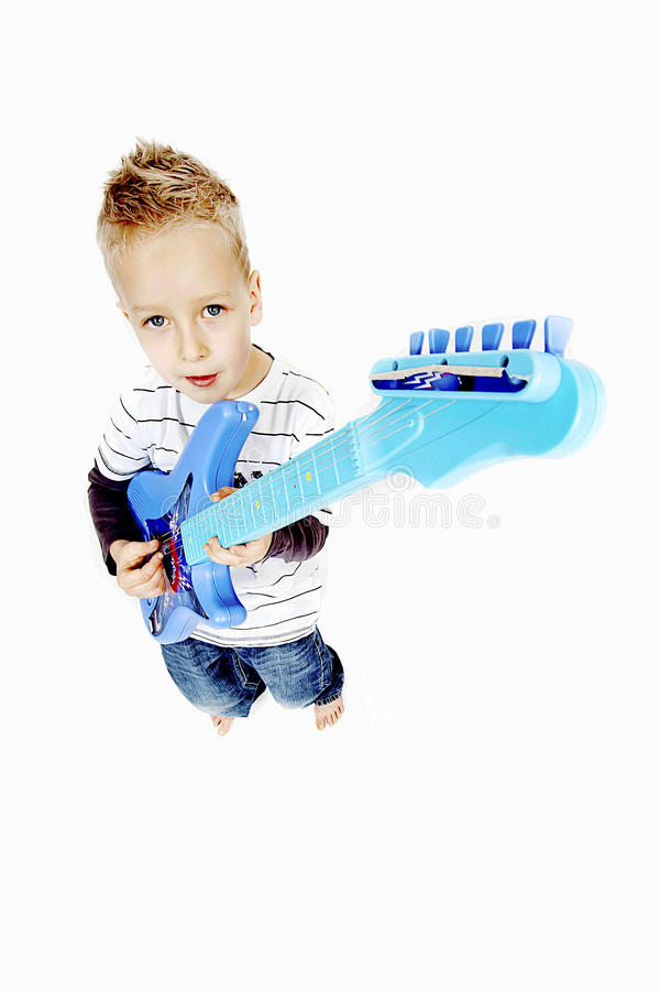 chłopiec gitara fotografia stock